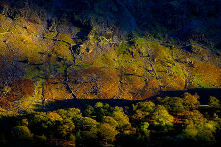 skimming: Sun skimming mountains in late afternoon, Lake District, England Stock Photo