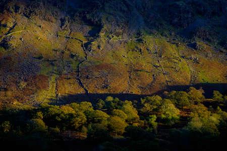 skimming: Sun rozando monta�as en la tarde, Lake District, Inglaterra