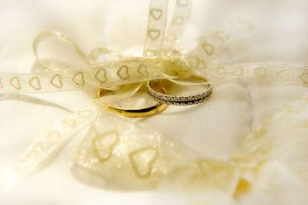 Wedding Rings on silk cushion Stock Photo
