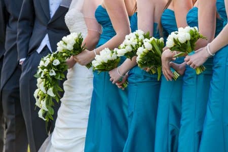 yellow dress: Bride and Bridesmaid Bouquets