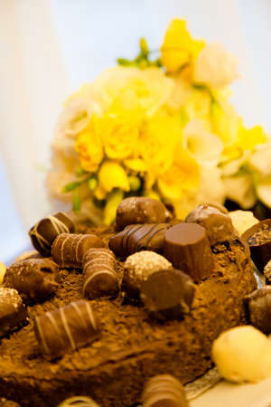 Chocolate and flowers - selective focus photo