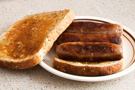 toasted sandwich: Sausage toasted sandwich Stock Photo