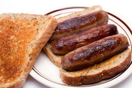 british cuisine: Sausage toasted sandwich Stock Photo