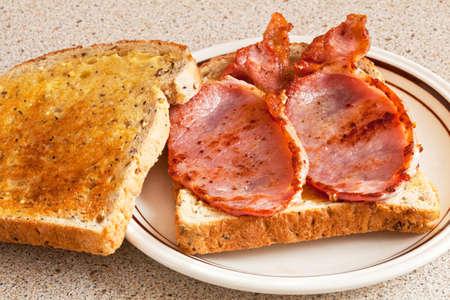 good cholesterol: Bacon toasted sandwich