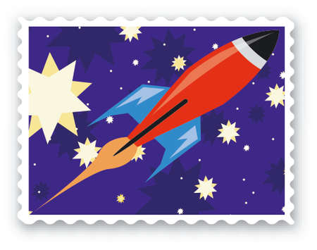 Stamp with an rocket - Vector Format