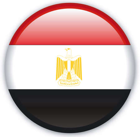 egypt flag: Button with Flag from Egypt - Vector Format Illustration
