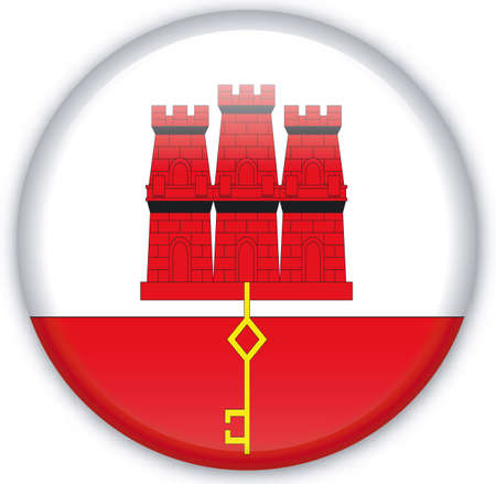 gibraltar: Button with Flag from Gibraltar - Vector Format