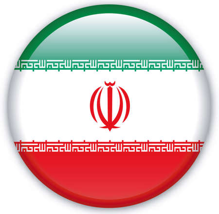iran: Button with Flag from Iran - Vector Format