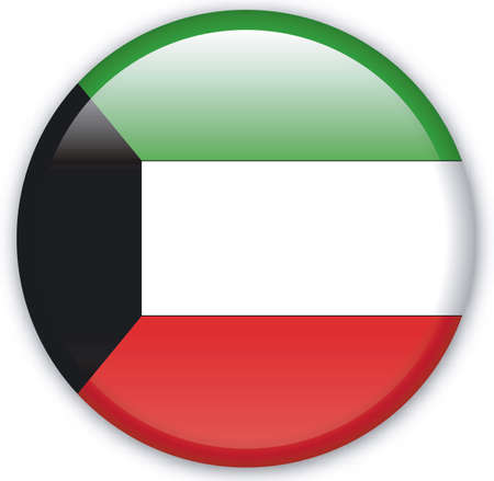 kuwait: Button with Flag from Kuwait - Vector Format Illustration