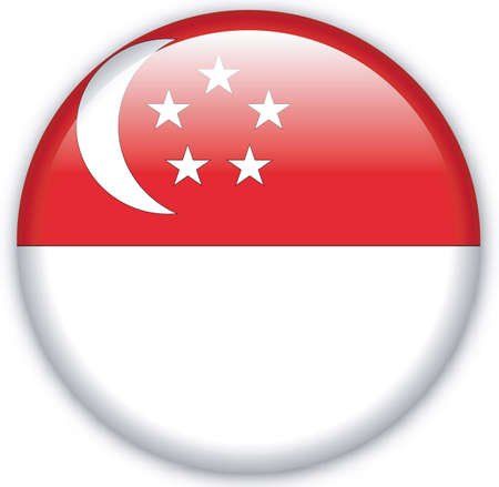 Button with Flag from Singapore - Vector Format Editorial