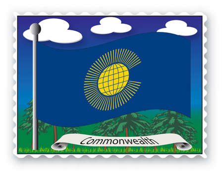 commonwealth: Stamp with flag from Commonwealth -Vector