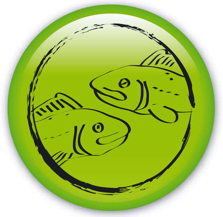 ecliptic: Button with Zodiac-Fishes Illustration