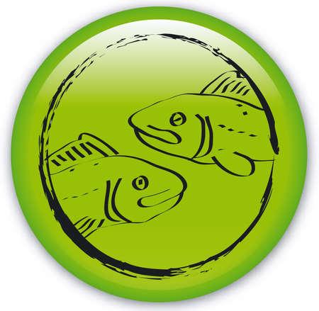 longitude: Button with Zodiac-Fishes Illustration