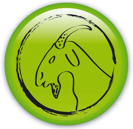 capricornus: Button with Zodiac-Horned goat