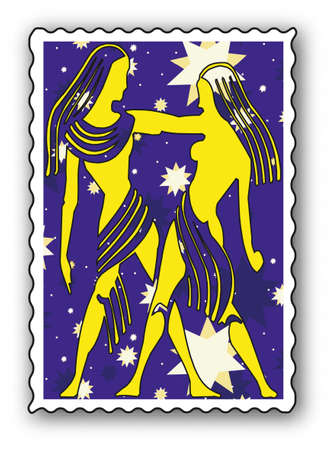 ecliptic: Stamp with Zodiac-Twins