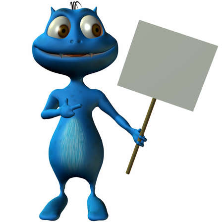 Toon Alien with Sign