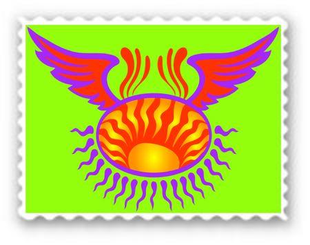 Stamp with flying sunbeams - Vector Format Illusztráció