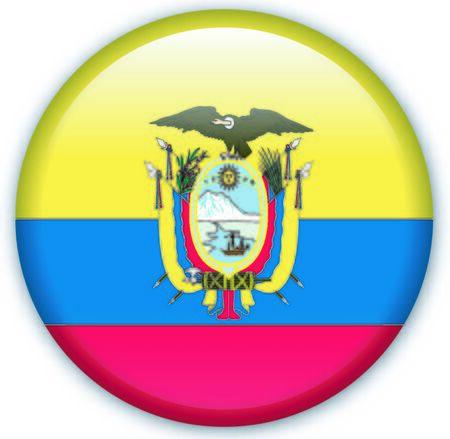 Button with Flag from Ecuador - Vector Format
