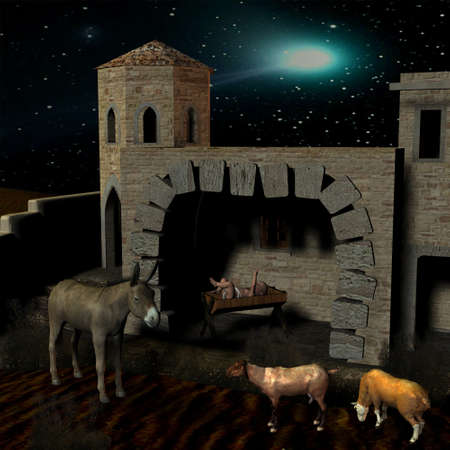 shepherd: Nativity scene with stable