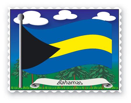 Sello con bandera de Bahamas-Vector