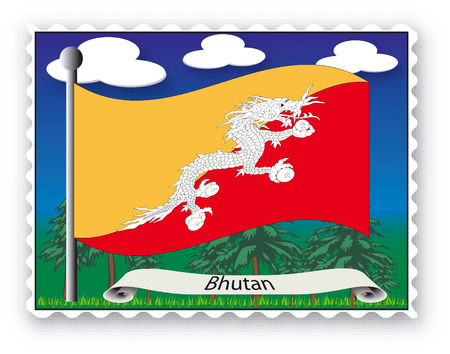 Stamp with flag from Bhutan -Vector