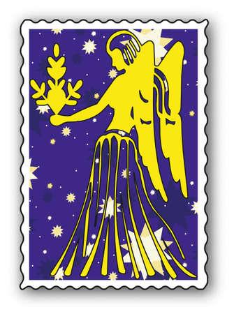 Sello con Zodiac-Virgen  Ilustración de vector