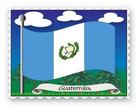 Sello con bandera de Guatemala-Vector