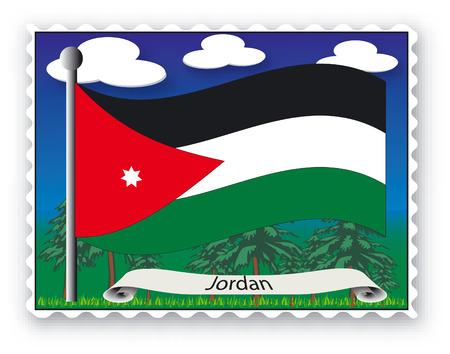 Sello con bandera de Jordania-Vector  Ilustración de vector