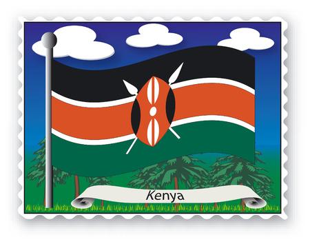 Sello con bandera de Kenia-Vector  Ilustración de vector