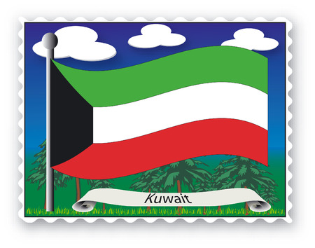 Stamp with flag from Kuwait-Vector