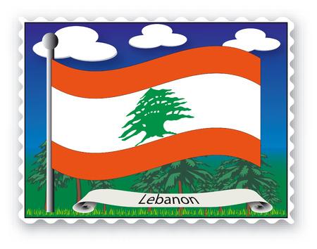 Sello con bandera del Líbano-Vector Ilustración de vector