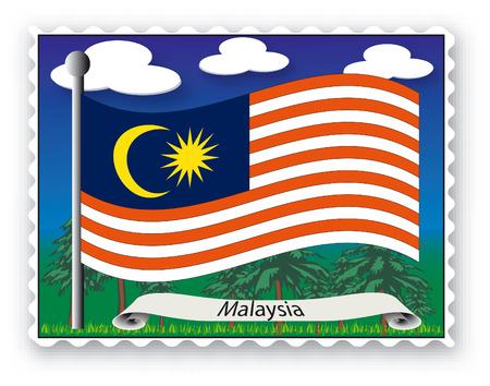 Sello con bandera de Malasia-Vector