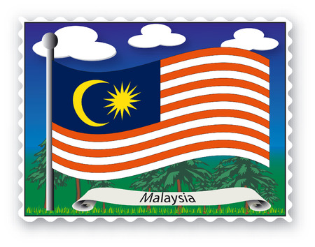 Stamp with flag from Malaysia-Vector
