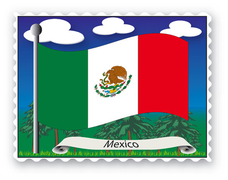 Stamp with flag from Mexico-Vector