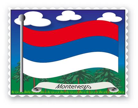 Sello con bandera de Montenegro-Vector