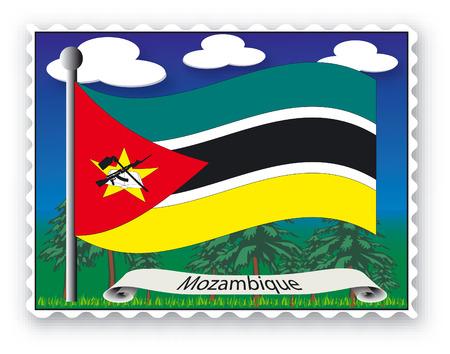 Sello con bandera de Mozambique-Vector
