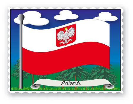 Sello con pabellón de Polonia-Vector