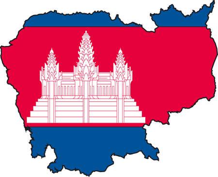 Vector illustratie van een Kaart en Vlag van Cambodja