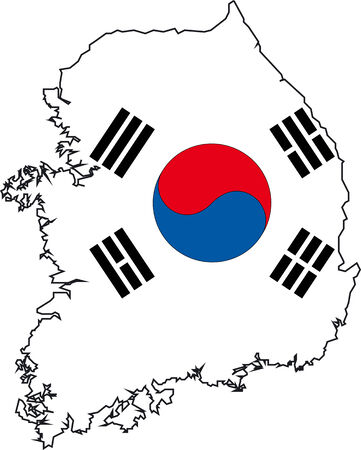 Illustration Vector of a Map and Flag from Korea South