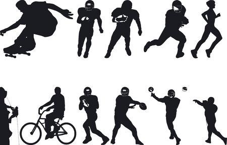 Illustration Vector of Athlete Silouettes Ilustração