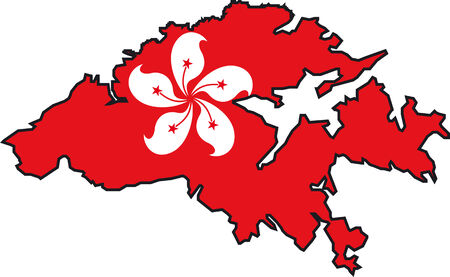 Illustration Vector of a Map and Flag from Hong Kong Ilustrace