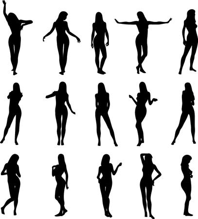 Illustration von sexy woman Silhouetten