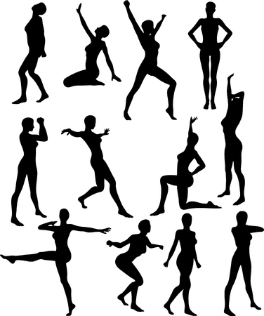 An Illustration of Sexy Cheerleader Silouettes - Vector Vettoriali