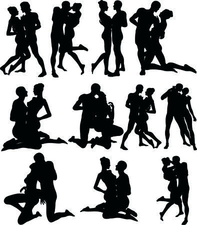 Illustration of Sexy Couple Silouettes