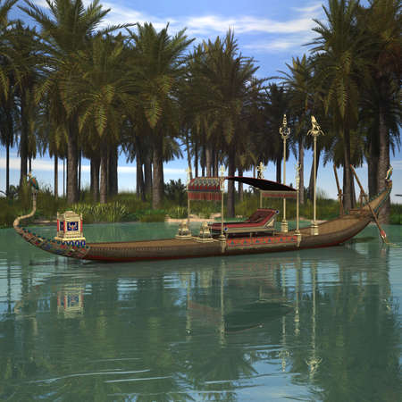barge: 3 D Render of an Egyptian Background with Barge