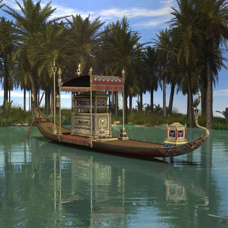 3 D Render of an Egyptian Background with Barge
