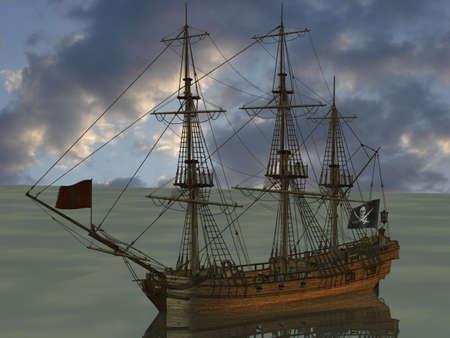 barco pirata: Renderizado 3D de un barco pirata Foto de archivo