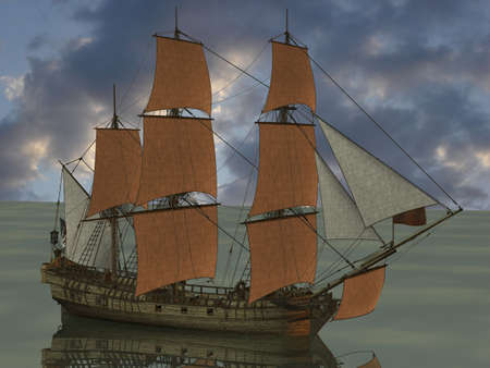 rope ladder: 3D Render of an Pirate Boat