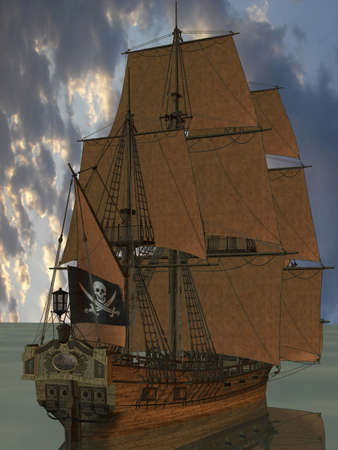 buccaneer: 3D Render of an Pirate Boat