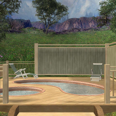 decking: 3D Render of an Hot Tub